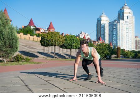Athlete On Asphalt Path On Sunny Summer Day Outdoors