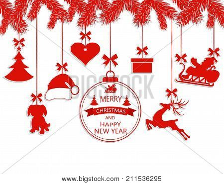 New Year Christmas. Various ornaments hanging on spruce branches, a Santa hat, a reindeer, a heart, a gift, a dog and a Christmas tree. Vector illustration