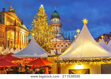 Christmas market, French church and konzerthaus in Berlin, Germany