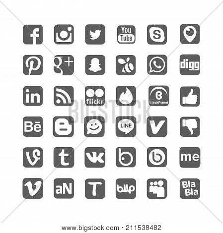 Istanbul, Turkey - October 31, 2017: Collection of popular social media logos printed on paper: Facebook, Instagram, Youtube, Vine, Badoo and others.