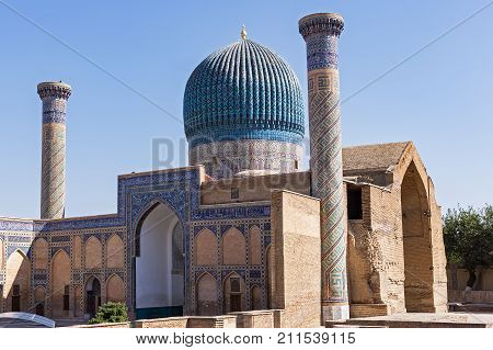 Gur-e Amir mausoleum of Timur - Samarkand, Uzbekistan. His architectural complex with its azure dome contains the tombs of Tamerlane, his sons and grandsons.