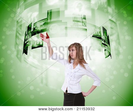 business person and digital screens