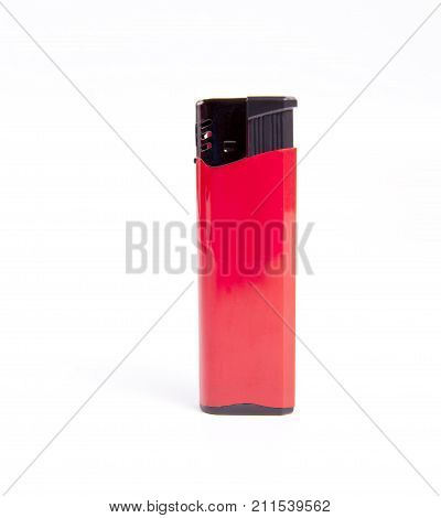 Red blank gas lighter mock up stand. Empty surface cigar lighter. Lighter template mockup. Cigarette lighter template.