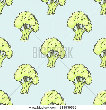 Fresh ripe broccoli isolated vector illustration endless texture. Ripe organic vegetable seamless pattern on blue background.