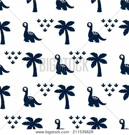 seamless pattern with dinosaur cute dinosaur cartoon creative vector childish background for fabric textile