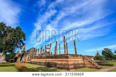 Sukhothai Historical Park At Day Time, Sukhothai Province. Located In A Beautiful Setting Of Lawns,