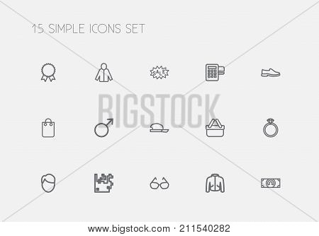 Set Of 15 Editable Business Outline Icons. Includes Symbols Such As Coat, Currency, Female Sign And More