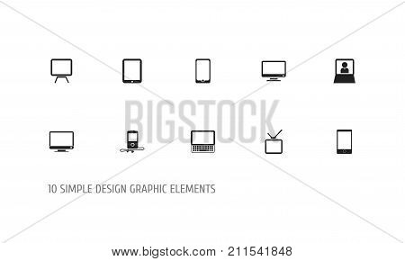 Set Of 10 Editable Instrument Icons. Includes Symbols Such As Tablet Phone, Telephone, Telly And More
