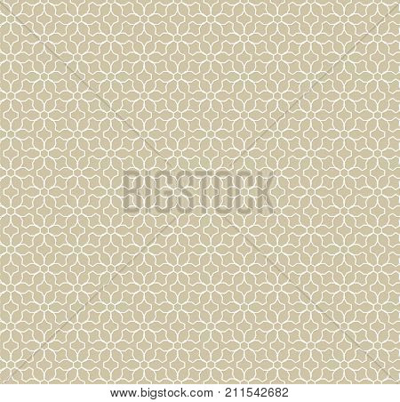 Abstract geometric seamless pattern. Golden texture, thin curved lines, subtle floral lattice, mesh, weave. Arabesque traditional background. Moroccan style ornament, repeat tiles. Golden pattern. Floral pattern. Lines pattern. Ornamental pattern.