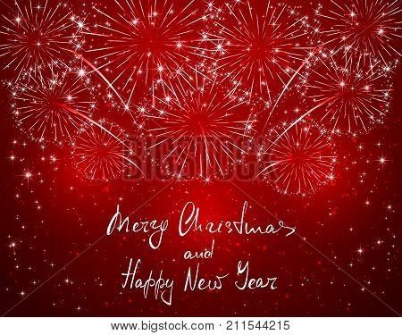Lettering Merry Christmas and Happy New Year with sparkling fireworks on red shiny background, holiday greeting, illustration.