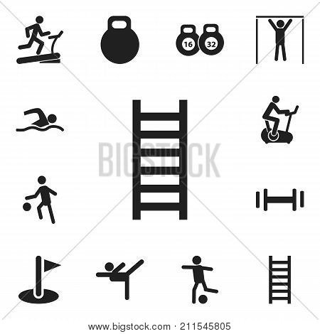 Set Of 12 Editable Sport Icons. Includes Symbols Such As Racetrack Training, Sportsman, Heft And More
