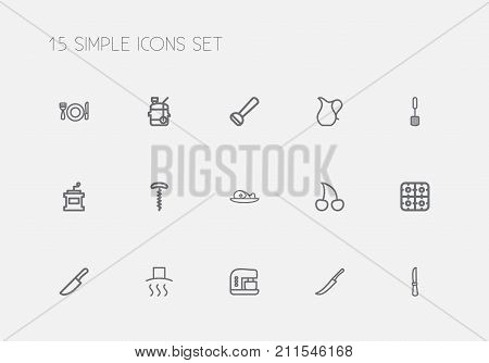 Set Of 15 Editable Meal Outline Icons. Includes Symbols Such As Potato Peeler, Meat, Stove And More