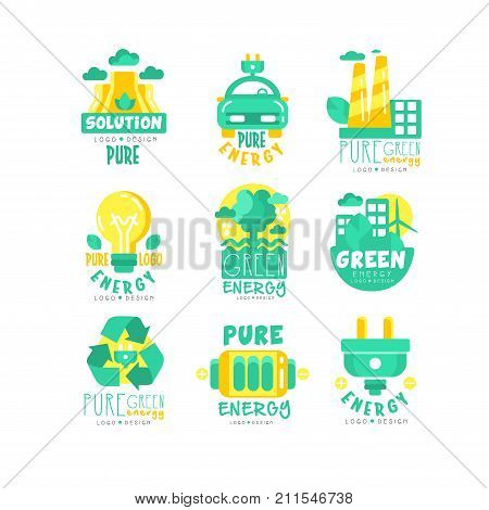 Alternative energy sources logo set. Green and yellow design. Pure eco energy production. Wind, bio, solar energy. Vector flat labels collection with electric car, battery, trees, factory, recycling.
