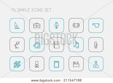 Set Of 15 Editable Teach Outline Icons. Includes Symbols Such As Lightning, Scale, Atom And More