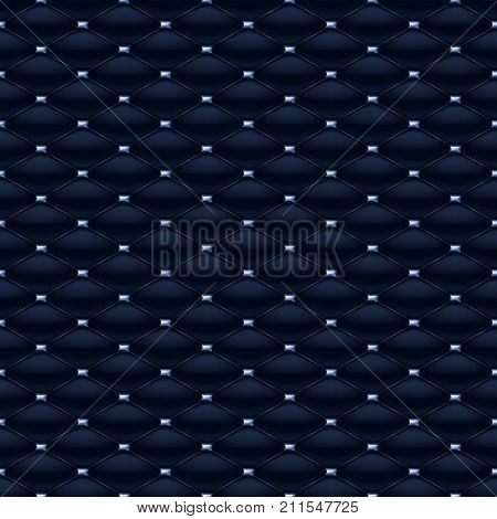 Quilted seamless pattern. Pins with blue gemstones stitching rivets on textile.