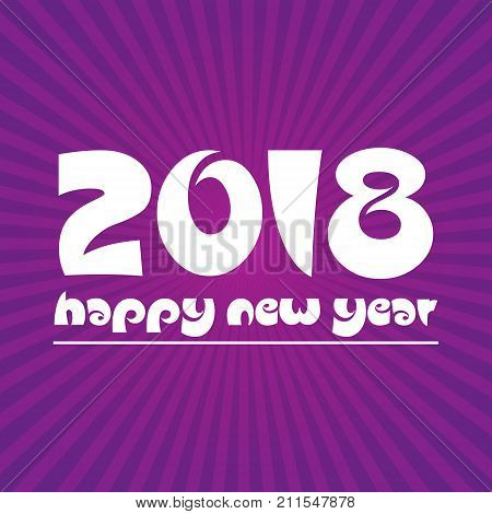 Happy New Year 2018 On Purple Stripped Background Eps10