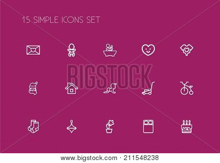 Set Of 15 Editable Kin Outline Icons. Includes Symbols Such As Infant, Tub, Double Bed And More