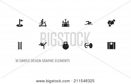 Set Of 10 Editable Exercise Icons. Includes Symbols Such As Competition, Balance, Gauntlet And More