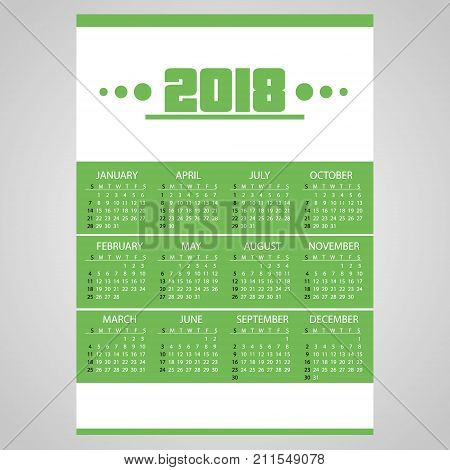 2018 Simple Business Wall Calendar Green And White Eps10