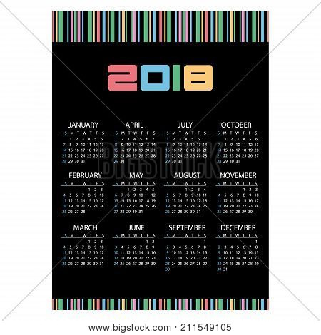 2018 Simple Business Wall Calendar Color Barcode Eps10