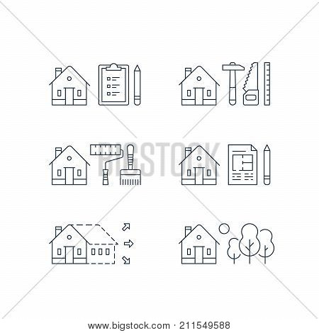 House renovation, home improvement, modernization concept, real estate development, paint services, contraction work, enlargement, summer house, suburb cottage, green neighborhood, vector line icon