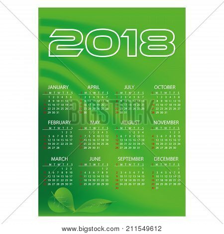 2018 Simple Business Wall Calendar Green Color Abstract Background Eps10