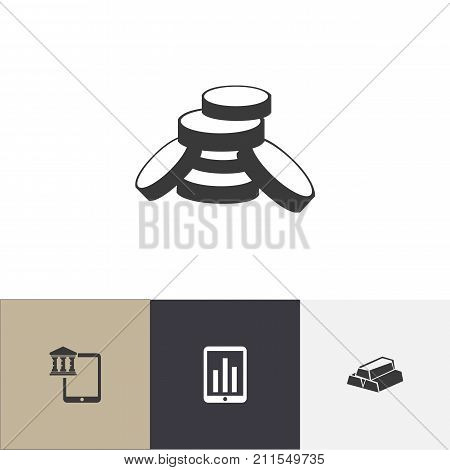 Set Of 4 Editable Finance Icons. Includes Symbols Such As Budget, Mobile, Monitoring And More