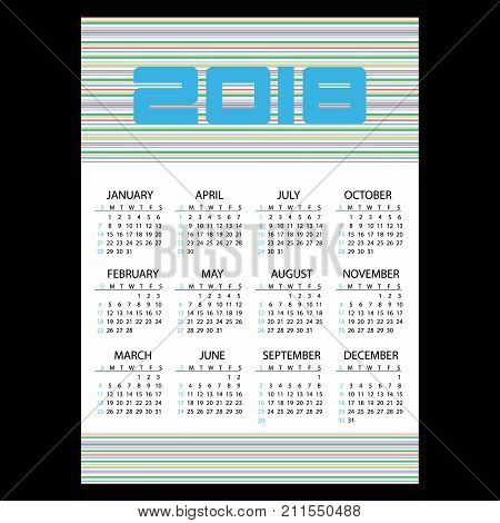 2018 Simple Business Wall Calendar With Horizontal Lines Eps10