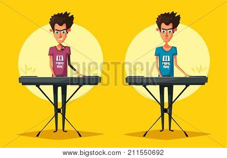 Electronic music Synthesizer instrument. Cartoon vector illustration. Keyboardist person. Character design