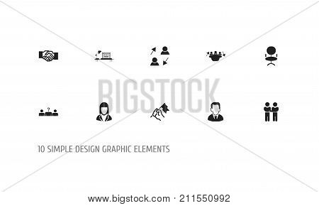 Set Of 10 Editable Business Icons. Includes Symbols Such As Ergonomic Seat, Table, Meeting And More