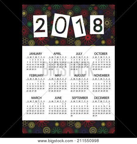 2018 Simple Business Wall Calendar With Outline Color Floral Pattern Eps10