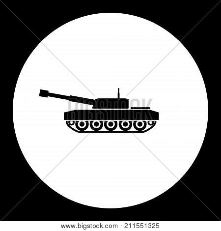 Armored Army Tank Simple Black Icon Eps10