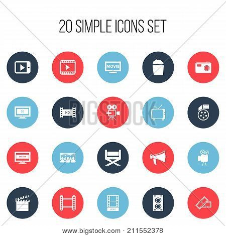 Set Of 20 Editable Cinema Icons. Includes Symbols Such As Widescreen, Camcorder, Movie Player And More