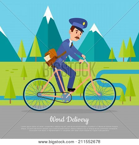 World delivery banner with postman. Mailman on bicycle rides on road near mountains. Express messenger to any part of the globe. Vector illustration of advertisement web poster in cartoon style