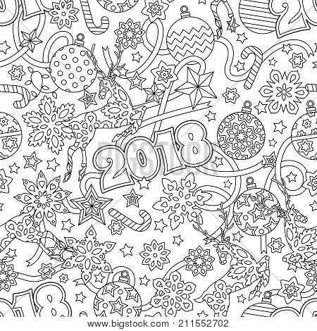 New Year 2018 Hand Drawn Outline Festive Seamless Pattern With Snowflakes Christmas Balls Deers