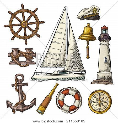Set sea adventure. Anchor wheel yacht compass rose spyglass bell lifebuoy lighthouse isolated on white background. Vector color vintage engraving illustration. For poster yacht club.