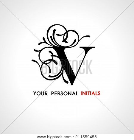 Capital letter V . Decorated with vegetable ornament. Template for your logo, emblems, monograms, initials