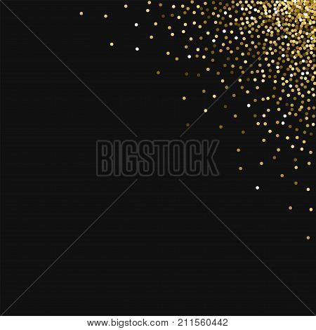 Round Gold Glitter. Top Right Corner Gradient With Round Gold Glitter On Black Background. Radiant V