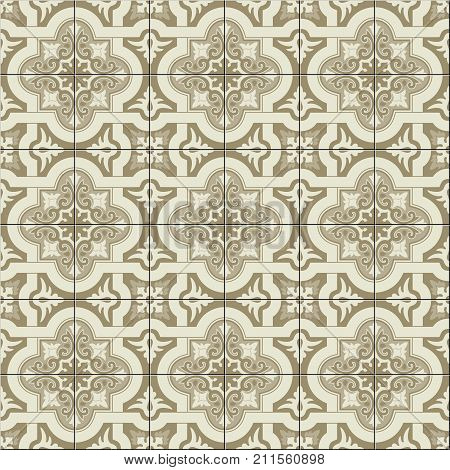Gorgeous seamless pattern white sepia Moroccan, Portuguese tiles, Azulejo, ornaments. Can be used for wallpaper, pattern fills, web page background, surface textures