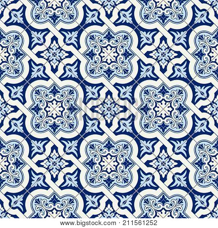 Gorgeous seamless pattern white blue Moroccan, Portuguese tiles, Azulejo, ornaments. Can be used for wallpaper, pattern fills, web page background, surface textures