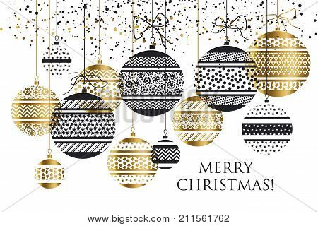 Xmas bauble ball decoration seamless pattern vector illustration.  new year decor motif for card, invitation, header, print and web design