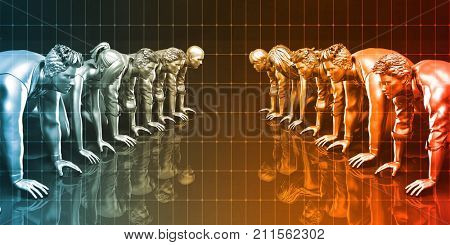 Team Spirit and Colleagues Working Together in Unison 3d Render