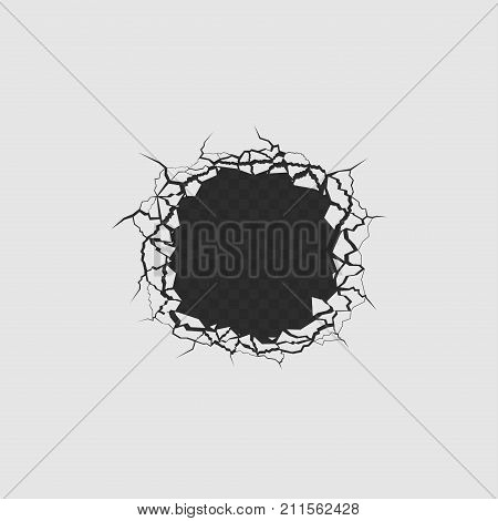 Simple hole with cracks, fissures and fractures. Vector illustration