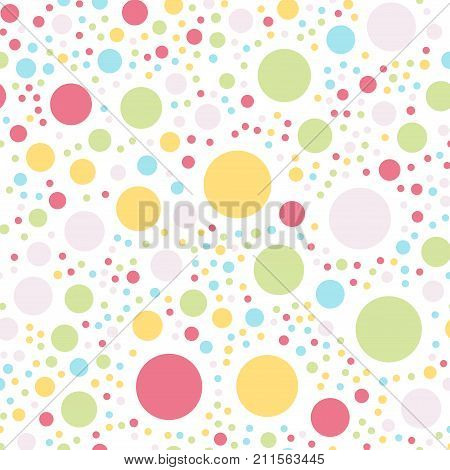 Colorful Polka Dots Seamless Pattern On White 4 Background. Mesmeric Classic Colorful Polka Dots Tex