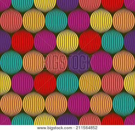 Abstract colorful spheres seamless 3d like texture. Overlapping circles , ball pit seamless pattern. Vector illustration for geometric design, background, wallpaper or textile purposes