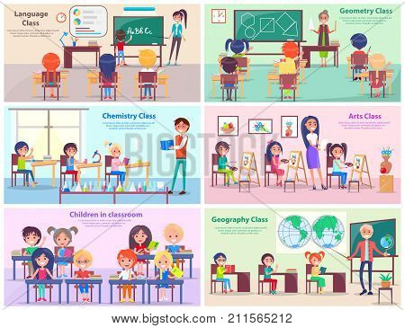 Kids study language, draw at geometry, do experiments at chemistry, paint in arts class and explore world with geography teacher vector illustrations.