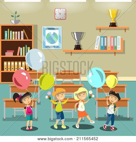 Kids in a classroom. Flat style vector illustration