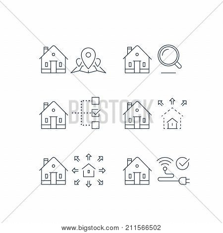 Real estate services, location mark map, search criteria magnifying glass, residential building size parameter, remodel, smart home control, wireless internet connection, vector line icon, stroke poster