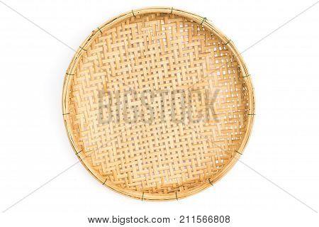wooden threshing basket (bamboo) isolated on white background
