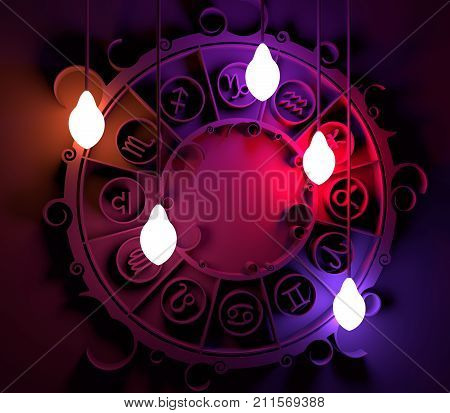 Astrological signs in the circle. Celebration card template. Electric bulbs illumination. Zodiac circle. 3D rendering
